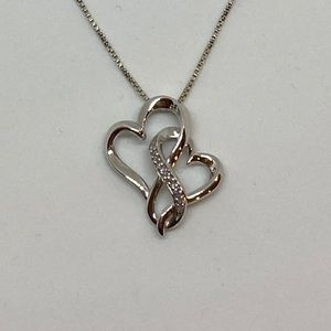Jewelry - Silver Double Heart Necklace with diamonds